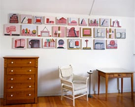 1. Philip Guston, series title TK, date(s) TK, medium TK, installation view, Woodstock, New York (artwork © The Estate of Philip Guston; photograph provided by McKee Gallery, New York)