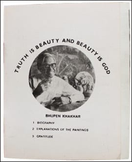 Bhupen Khakhar, Truth Is Beauty and Beauty Is God, first page, 1972, exhibition catalogue, offset printing on paper. Collection Chemould Prescott Road, Mumbai (artwork  © Chemould Prescott Road; photograph by Andrea Pemberton)