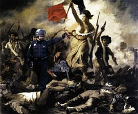 "Artist unknown, ""Pepper spray cop"" meme featuring Eugène Delacroix, Liberty Leading the People, ca. November 2011"