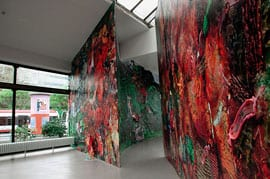 Fabian Marcaccio, Paintant Stories, 2000, pigment inks, oil, acrylic, silicone, and polymer on vinyl, wood, and metal structure, approx. 13 ft. 1½ in. x 328 ft. (4 x 100 m). Collection Davos Latin-America, Zurich (artwork © Fabian Marcaccio)