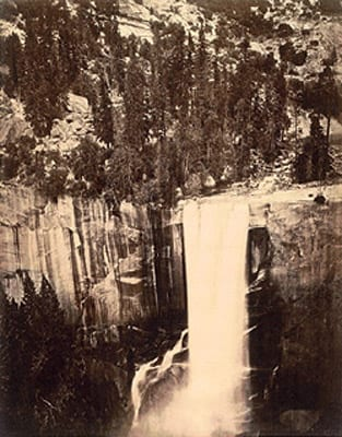 "Eadward Muybridge, Pi-Wi-Ack, Valley of the Yosemite (Shower of Stars), ""Vernal Fall,"" 400 Feet Fall, No. 29, 1872, wet-plate collodion photograph (photograph in the public domain)"
