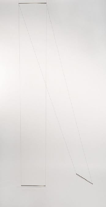 Jonah Groeneboer, installation view and two details of Curve, 2013, black thread and brass bars, approx. 96 x 24 x 24 in. (243.8 x 61 x  61 cm) (artwork © Jonah Groeneboer; photographs provided by the artist)
