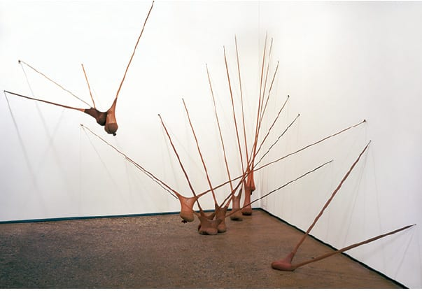 Senga Nengudi, R.S.V.P. 1, 1977/2003,  nylon mesh and sand, 10 pieces, dimensions variable. Museum of Modern Art, New York (artwork © Senga Nengudi; photograph provided by Thomas Erben Gallery, New York)