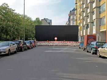 Nada Prlja, Peace Wall, 2012, installation view, Friedrichstrasse, Berlin, 2012 (artwork © Nada Prlja; photograph © Nada Prlja, provided by Berlin Biennale)