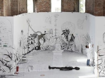 Draftsmen's Congress, initiated by Pawel Althamer, 2012, installation view, Elisabeth-Kirche, Berlin, 2012 (photograph © Marta Gornicka, provided by Berlin Biennale) Visitors were invited to draw and paint on white panels placed throughout the church.