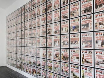 Teresa Margolles, PM 2010, 2012, installation view, KW Institute for Contemporary Art, Berlin, 2012 (artwork © Teresa Margolles; photograph © Marta Gornicka, provided by Berlin Biennale) For a year the artist collected the front pages of the daily tabloid PM, published in Ciudad Juárez, a US-Mexico border cities.