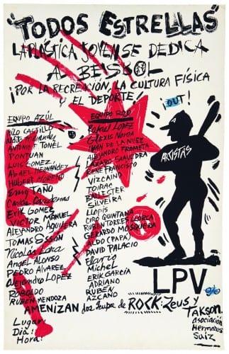 """Pedro Vizcaíno, cartel """"Todos Estrellas"""" / poster """"All Stars,"""" 1989, impreso en / printed at Taller de Serigrafía René Portocarrero, Havana (artwork © Pedro Vizcaíno)"""