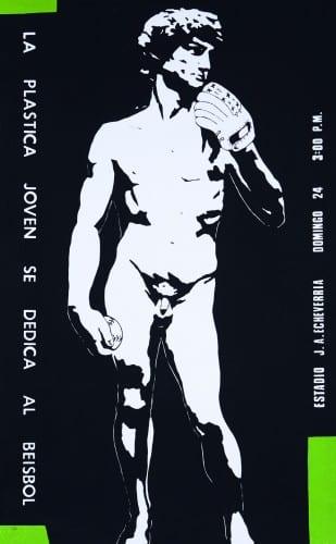 """Nudo [Eduardo Marin y Vladimir Llaguno], cartel """"La plástica joven se dedica al béisbol"""" / poster """"Young Artists Take Up Baseball,"""" 1989, impreso en / printed at Taller de Serigrafía René Portocarrero, Havana (artwork © Nudo)"""