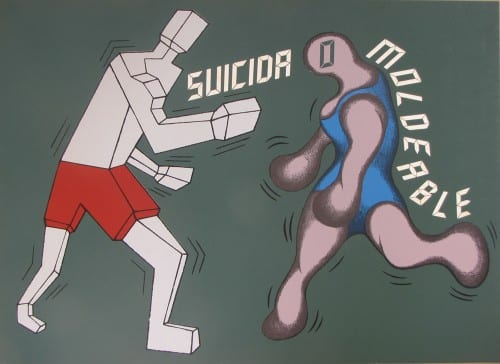 Carlos R. Cárdenas, Suicida o moldeable [Suicide or Malleable], 1989, serigrafía sobre cartulina / serigraph on cardboard, 20 x 27½ in. (50.8 x 69.9 cm). Collection of Orlando Hernández (artwork © Carlos R. Cárdenas)