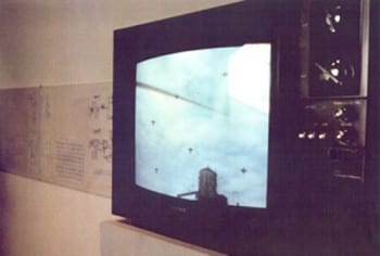 Robert Watts, David Behrman, and Bob Diamond, Cloud Music: Installation of Cloud Driven Music, 1974–79, installation view, Whitney Museum of American Art, 1979 (artwork © 2014 Robert Watts Estate, David Behrman, and Bob Diamond; photograph provided by Robert Watts Estate). A specially designed video system scans the sky. An electronic sound system translates changing cloud formations into music.