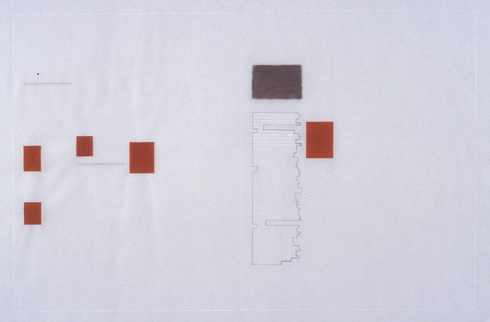 Karen L. Schiff, Agnes Martin, College Art Association News, March 2005, opening, 2005, graphite, pastel, ruby lith, and stylus on vellum, 12 x 18 inches (artwork © Karen L. Schiff) Collection: Sally and Wynn Kramarsky, New York, New York