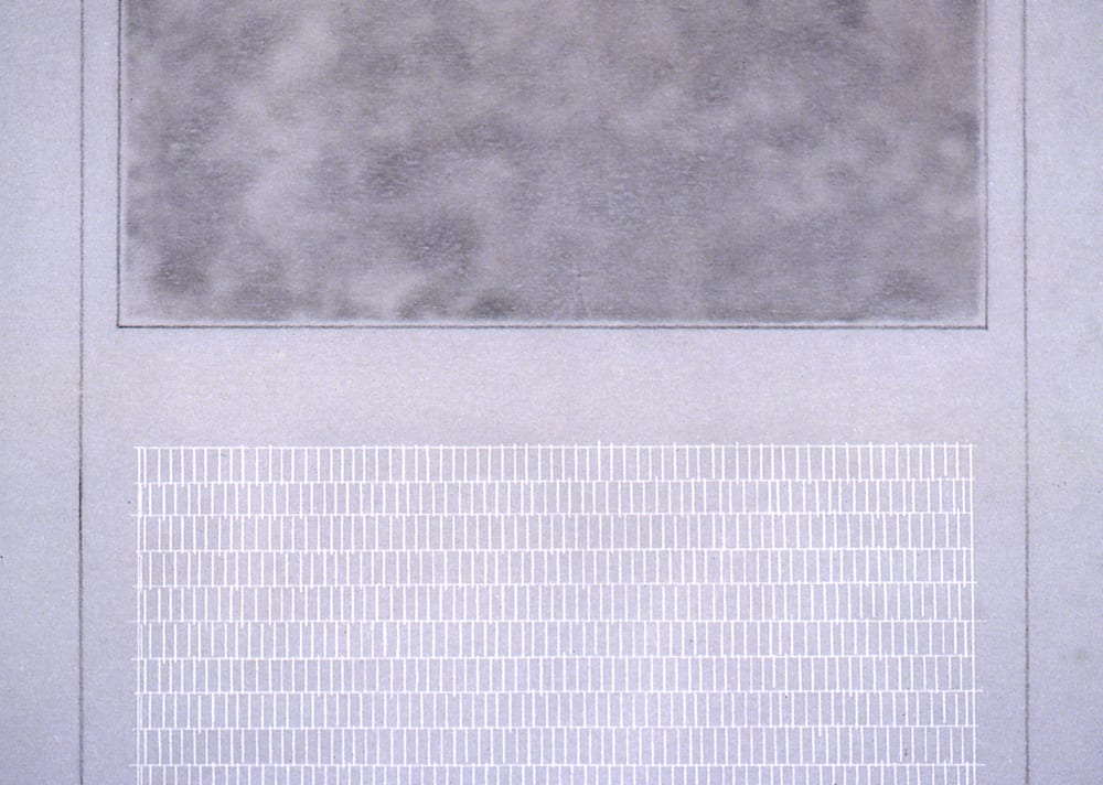 Detail of Karen L. Schiff, Agnes Martin, The New York Times, 17 December 2004, I, 2005, graphite, charcoal, and stylus on vellum, 17 x 14 inches (artwork © Karen L. Schiff)