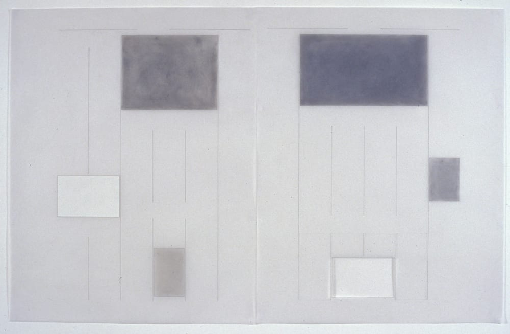 Karen L. Schiff, Agnes Martin, Suddeutsche Zeitung, 21 December 2004, opening, I, 2005, graphite, charcoal, pastel, and zip-a-tone on vellum, 24 x 38 inches (artwork © Karen L. Schiff)