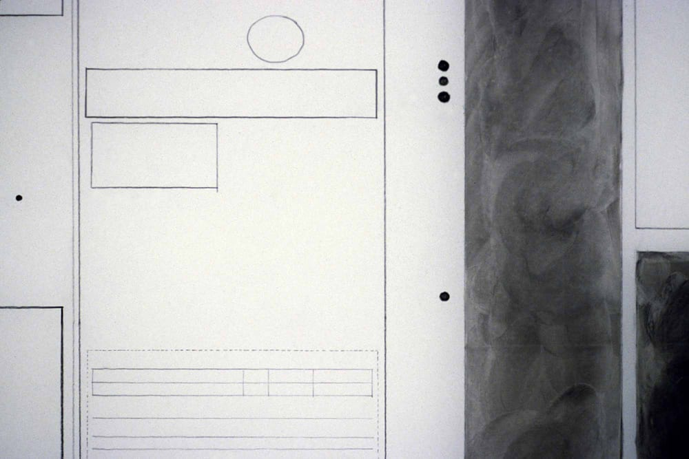 Detail of Karen L. Schiff, Agnes Martin, The Times of London, 21 December 2004, opening, I, 2005, graphite and charcoal on mylar, 23 x 34 inches (artwork © Karen L. Schiff)