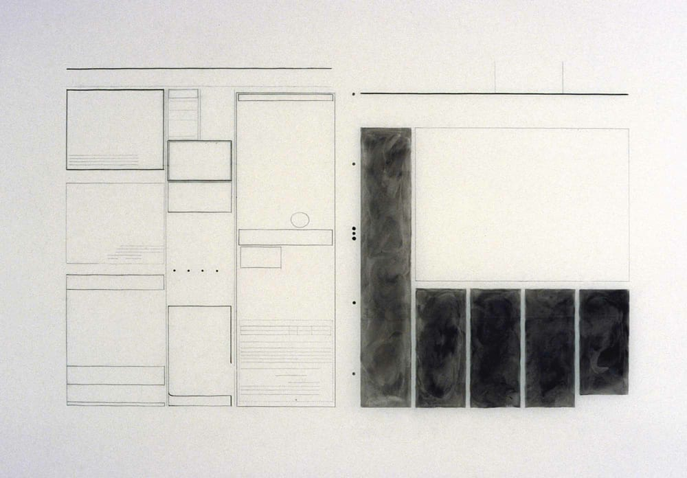 Karen L. Schiff, Agnes Martin, The Times of London, 21 December 2004, opening, I, 2005, graphite and charcoal on mylar, 23 x 34 inches (artwork © Karen L. Schiff)
