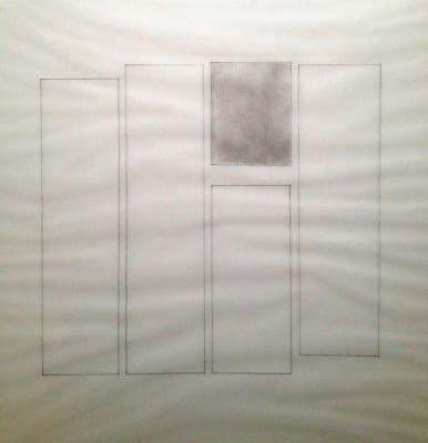 Detail of Karen L. Schiff, Agnes Martin, The Boston Globe, 17 December 2004, I, 2005, tape on vellum, 17 x 14 inches (artwork © Karen L. Schiff)