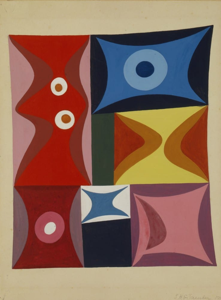 Sophie Taeuber-Arp, Elementary Forms in a Vertical-Horizontal Composition (Formes élémentaires en composition verticale-horizontale), 1917, gouache, 11 7⁄16 x 9 7⁄16 in. (29 x 24 cm). Stiftung Hans Arp und Sophie Taeuber-Arp e.V., Rolandswerth, inv. 003.550 (artwork in the public domain; photograph provided by Stiftung Hans Arp und Sophie Taeuber-Arp)