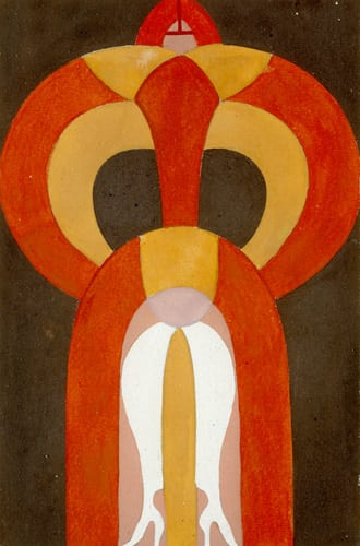 Sophie Taeuber-Arp, Untitled (Figure: Dancer), ca. 1917/ca. 1924, gouache on cardboard, 4¾ x 3⅛ in. (12 x 8 cm). Stiftung Hans Arp und Sophie Taeuber-Arp e.V., Rolandswerth (artwork in the public domain; photograph provided by Stiftung Hans Arp und Sophie Taeuber-Arp)