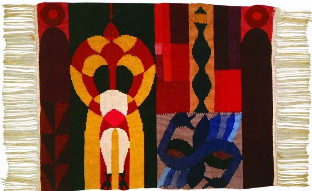 Sophie Taeuber-Arp, Untitled, 1918/1924, weaving, wool, 15¾ x 19⅝ in. (40 x 50 cm). Fondazione Marguerite Arp, Locarno (artwork in the public domain; photograph provided by Fondazione Marguerite Arp)
