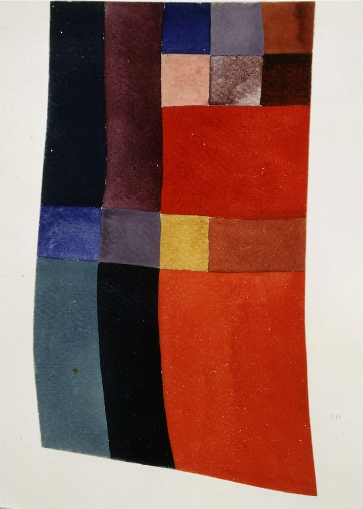 Sophie Taueber-Arp, Free Vertical-Horizontal Rhythms (Rythmes verticaux-horizontaux libres), 1919, gouache, 1115⁄16 x 89⁄16 in. (30.3 x 21.8 cm). Stiftung Hans Arp und Sophie Taeuber Arp e.V., inv. 003.205 (artwork in the public domain; photograph provided by Stiftung Hans Arp und Sophie Taeuber Arp)