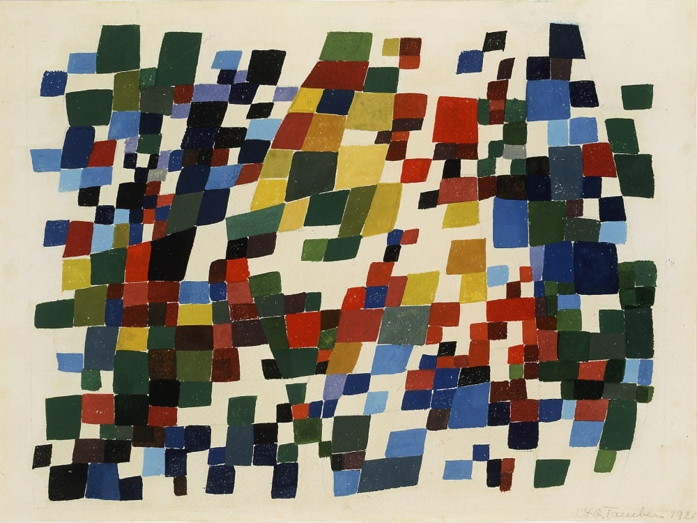 Sophie Taeuber-Arp, Composition in Dense, Polychrome, Quadrangular Spots (Composition en taches quadrangulaires, polychromes, denses), 1921, gouache, 10¼ x 13¾ in. (26 x 35 cm). Stiftung Hans Arp und Sophie Taeuber Arp e.V., inv. 003.121 (artwork in the public domain; photograph provided by Stiftung Hans Arp und Sophie Taeuber-Arp)