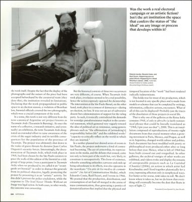 "Nicolás Guagnini and Roberto Jacoby, ""1000 Words: Roberto Jacoby Talks about El alma nunca piensa sin imagen (The Soul Never Thinks without an Image), 2010,"" page 250 from Artforum International 49, no. 7, March 2011 (page © Artforum International; photograph by Rosana Schoijett)"