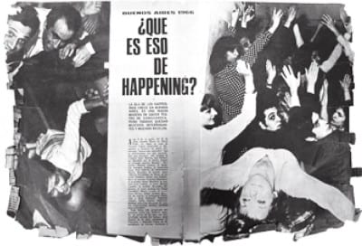 Eduardo Costa, Raúl Escari, Roberto Jacoby, Happening para un jabalí difunto (Happening for a Dead Boar), 1966, press clipping, Roberto Jacoby archive, Buenos Aires (photograph provided by Roberto Jacoby)