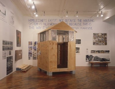 Mad Housers, temporary housing, 1989, built for Homeless: The Street and Other Venues, from If You Lived Here . . ., 1989, installation view, Dia Art Foundation (artwork © Mad Housers; photograph by Oren Slor, provided by Dia Art Foundation)