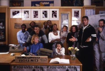 Posed photograph of members of Homeward Bound Community Services at Homeless: The Street and Other Venues, 1989 (photographer unknown; photograph provided by Martha Rosler)