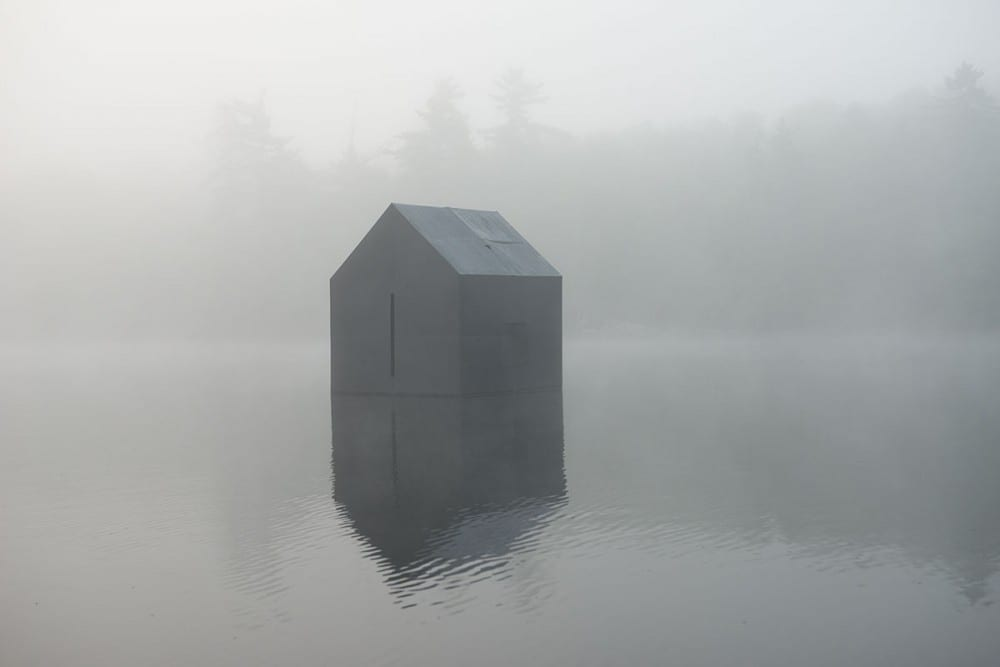 William Lamson, Untitled (Walden), 2014, exterior view of Lamson's floating camera obscura, color photograph (artwork © William Lamson)
