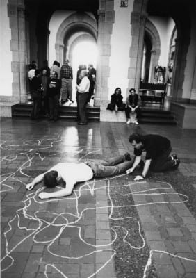 Rudy Lemcke, Immemorial, 1992, documentation of performance at de Young Museum for Day Without Art, (artwork © Rudy Lemcke, photograph © Rink Foto,)