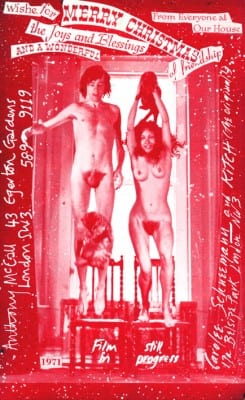 Carolee Schneemann and Anthony McCall, Christmas card, 1971 (artwork © Carolee Schneemann; photograph provided by the artist). Schneemann and McCall are shown with their cats Kitch and Bathsheeba in London, 1971.