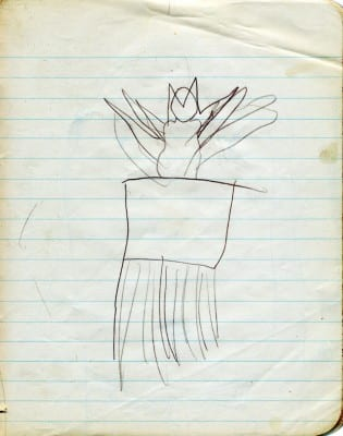 Carolee Schneemann, The Exuberant Cat, made at age four, 1943, pencil on paper, 7 x 5 in. (17.8 x 12.7 cm) (artwork © Carolee Schneemann; photograph provided by the artist)