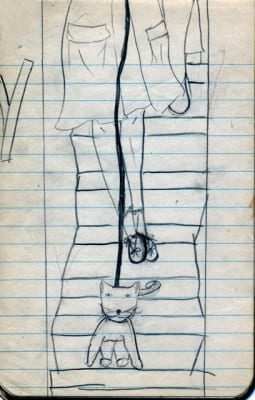 Carolee Schneemann, Cat on Leash, made at age seven, ca. 1946, pen on notepaper, 9 x 4 in. (22.9 x 10.2 cm) (artwork © Carolee Schneemann; photograph provided by the artist)