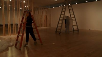 robbinschilds, Construction I: Linde, 2011, two-channel digital video, 4 min., 49 sec. (artwork © robbinschilds)
