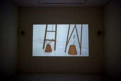 Math Bass, installation view of Drummer Boi, 2015, video with sound (artwork © Math Bass, photograph by Pablo Enriquez)