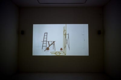 Math Bass, installation view of Drummer Boi, 2015, video with sound (artwork © Math Bass, photograph by Pablo Enriquez)