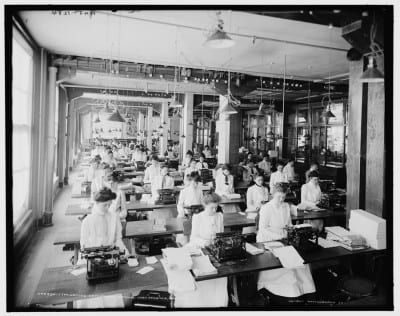 William Henry Jackson, photograph of the typewriting department, National Cash Register, Dayton, Ohio, ca. 1902 (photograph provided by Library of Congress)