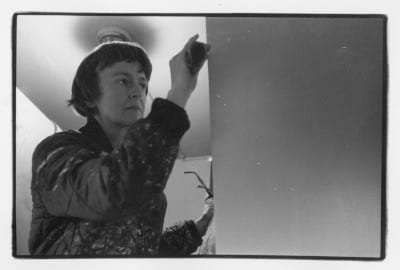 Anne Truitt working on a sculpture in her studio in Washington, DC, early 1970s, black-and-white photograph (photograph © Estate of Anne Truitt/annetruitt.org, provided by Bridgeman Images)