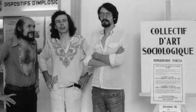 Sociological Art Collective (from left to right: Fred Forest, Hervé Fischer, Jean-Paul Thénot) at the 37th Biennale di Venezia, 1976  (photograph © Sociological Art Collective; archives: Hervé Fischer)