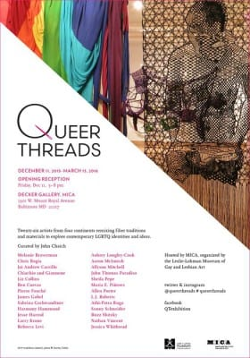 exhibition announcement for Queer Threads: Crafting Identity and Community