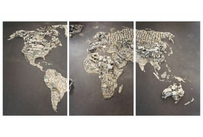 Vik Muniz, WWW (World Map), from the Pictures of Junk series, 2008, photograph, triptych, ea. panel 58⅝ x 40⅛ in. (149 x 102 cm)  (artwork © Vik Muniz/Licensed by VAGA, New York, NY; photograph provided by the artist) The map is made from waste collected in the garbage dumps of Rio de Janiero.