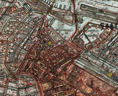 Gert Jan Kocken, detail of Depictions of Amsterdam, 1940–1945, 2010, C-print, 110¼ x 149⅝ in. (280 x 380 cm) (artwork © Gert Jan Kocken; photograph provided by the artist) Each black dot indicates ten Jewish inhabitants.