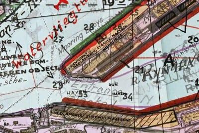 Gert Jan Kocken, Depictions of Rotterdam, 1940–1945, 2010, detail showing Wilhelminakade and the New York mooring, C-print, 110¼ x  149⅝ in. (280 x 380 cm) (artwork © Gert Jan Kocken; photograph provided by the artist)