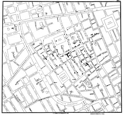 John Snow, Spot map of cholera cases in the Broad Street area of London, from Report on the Cholera Outbreak in the Parish of St. James, Westminster, during the Autumn of 1854, London, 1855 (document in the public domain) Cholera cases are indicated by black lines.