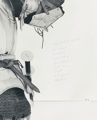Karl Haendel, detail of Knight #8, 2011, pencil on paper, 103 x 79 in. (261.6 x 200.6 cm) (artwork © Karl Haendel)