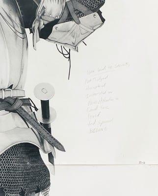 Karl Haendel, detail of Knight #8, 2011, pencil on paper, 103 x 79 in. (261.6 x 200.6 cm) (artwork © Karl Haendel)