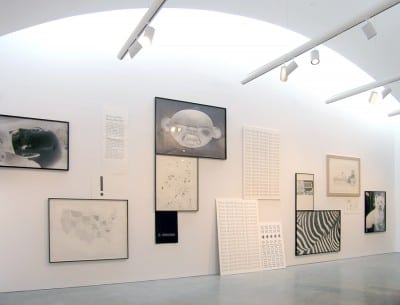 Installation view of Karl Haendel's drawings in Uncertain States of America: American Art in the 3rd Millennium, Bard College, Annandale-on-Hudson, New York,  2006 (artwork © Karl Haendel)