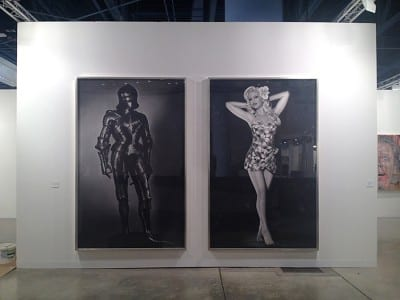 Robert Longo, Untitled (Adam and Eve), 2012, installation view, Metro Pictures booth, Art Basel Miami Beach, 2012 (artwork © Robert Longo; photograph by Aram Moshayedi)