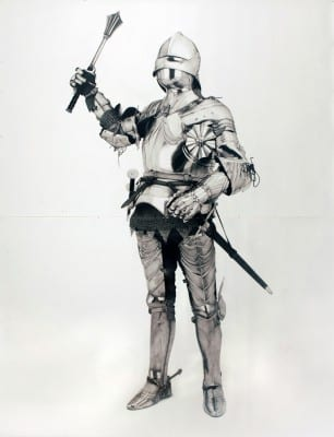 Karl Haendel, Knight #1, 2010, pencil on paper, 103 x 79 in. (261.6 x 200.6 cm) (artwork © Karl Haendel)